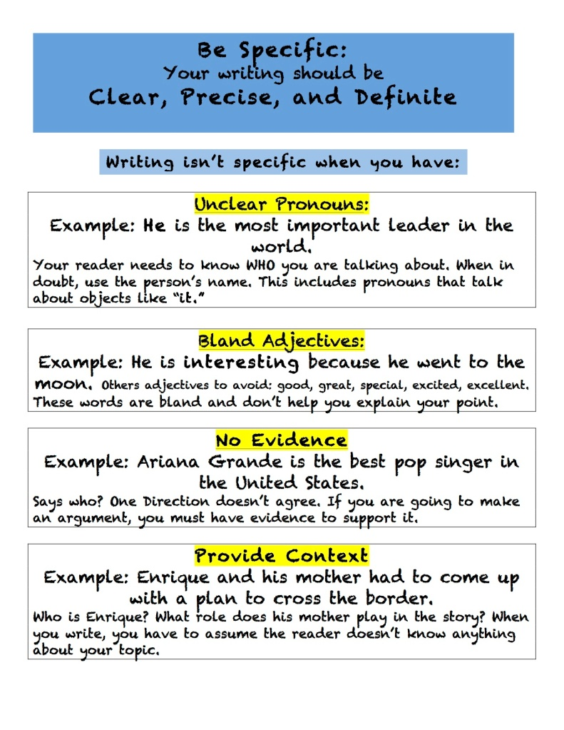 Be Specific Anchor Chart