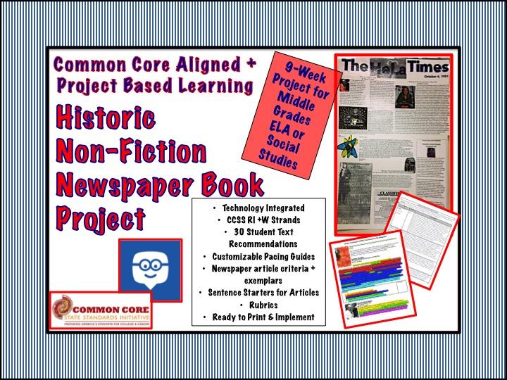 Common Core Aligned Historic Non-Fiction Newspaper Book Project