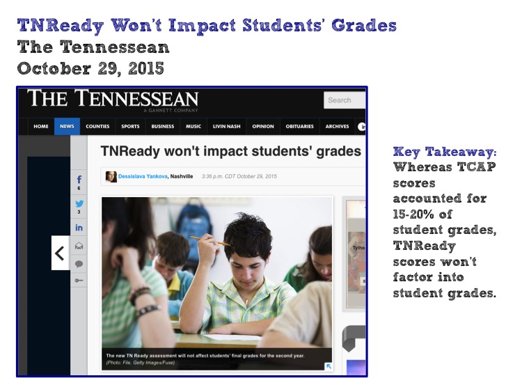 TNReady Won't Impact Students' Grades