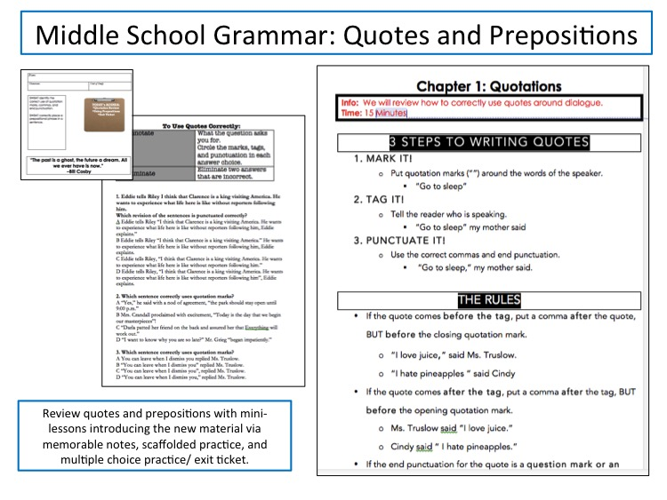 Quotes and Prepositions TPT Products