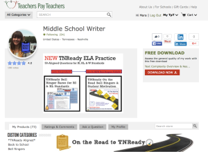 Image of Middle School Writer's Teachers Pay Teachers Store