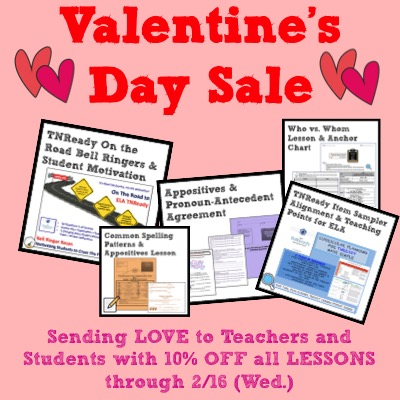 Image of Middle School Writer's Valentine's Day Sale